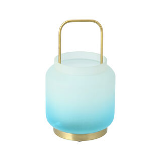 Glass Candle Holder Graident White Blue Small 16X16X25 Cm