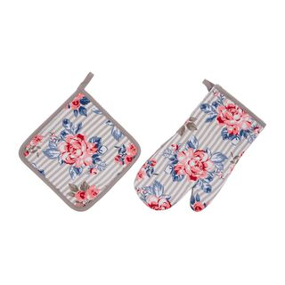Cottage 2 Pieces Set Oven Glove + Mitten - Spring Design - Powder Color