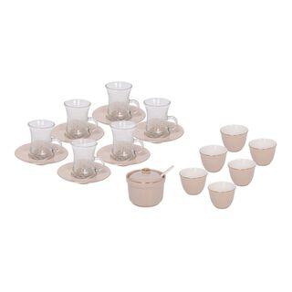 طقم شاي وقهوة عربي 20 قطعة لون بني