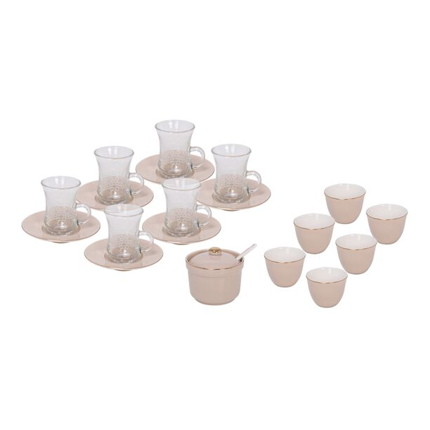 Tea And Arabic Coffee Set 20 Pieces Brown image number 0