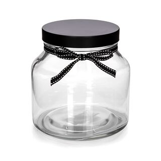 Alberto Glass Storage Jar With Metal Lid & Ribbon V:1650Ml