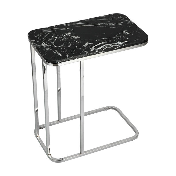 Side Table Silver Leg Black Top image number 3