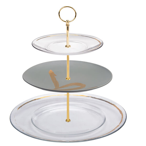 Gold Figure 3 Tier Cake Plate image number 0