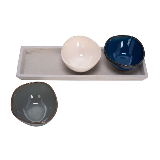 3 Pcs Serving Bowl On Grey Wood Tray image number 1