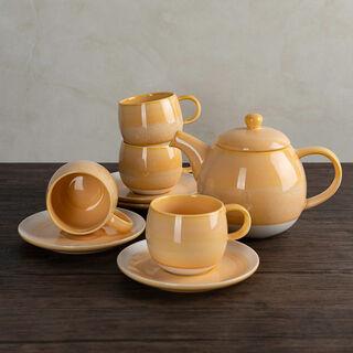 طقم شاي بورسلان 5 قطع لون أصفر من لاميسا