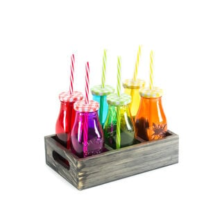 6Pcs Glass Milk Bottles With Metal Lid And Plastic Straw Assorted Colors