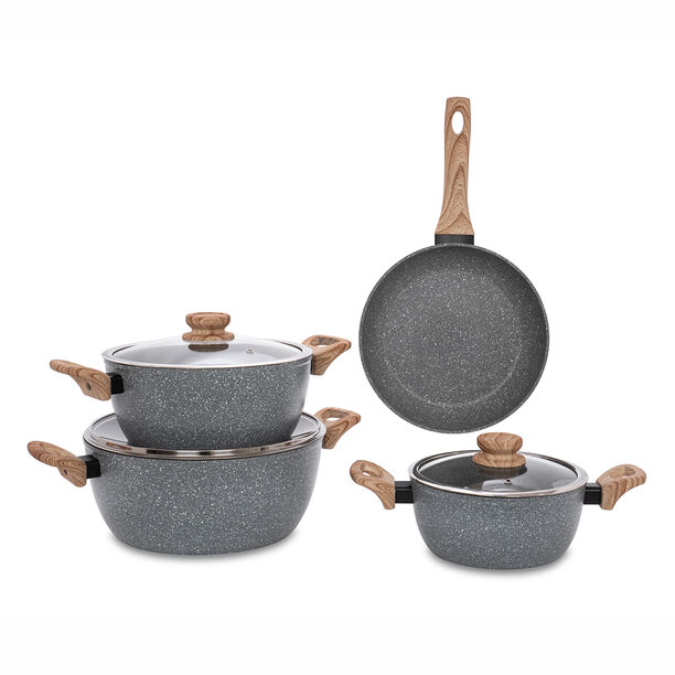 Alberto 7 Pieces Non Stick Forged Aluminum Cookware Set With Glass Lid Grey Color image number 1