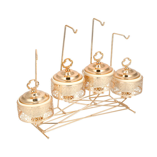 """4 pieces Round Food Warmer Set With Candle Stand Gold 5"""" image number 3"""