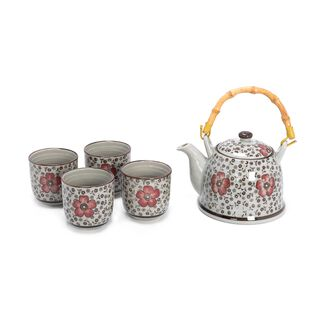 طقم إبريق شاي من السيراميك 5 قطع