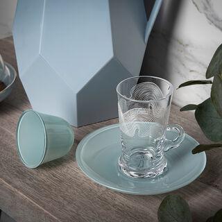 طقم شاي وقهوة عربي 18 قطعة لون أزرق