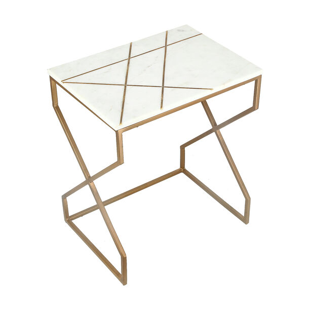 Nested Table Set Of 2 Rect. Marble And Metal White image number 3