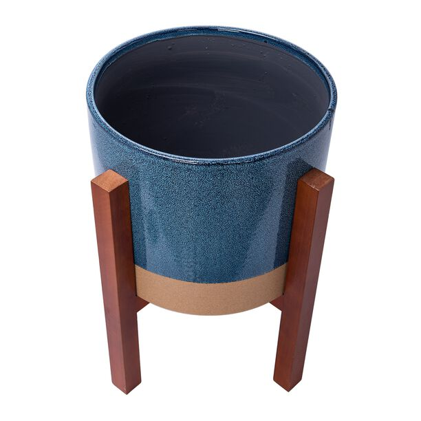 "Ceramic Blue Planter With Stand 13.5"" image number 2"