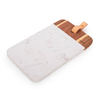 Alberto Marble Cutting And Serving Board With Wooden Hand