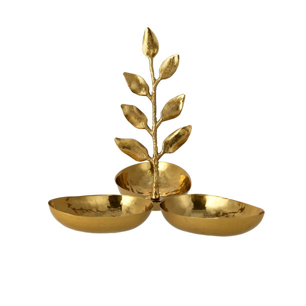 ARABESUE TRIPPLE OVAL BOWL CONDIMENT SET WITH EVERGREEN LEAF SMALL9*9*8.5 Cm image number 0