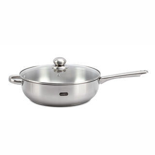 Alberto Stainless Steel Deep Frypan With Glass Lid