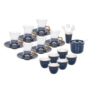 طقم شاي وقهوة بورسلان 28 قطعة لون ازرق غامق