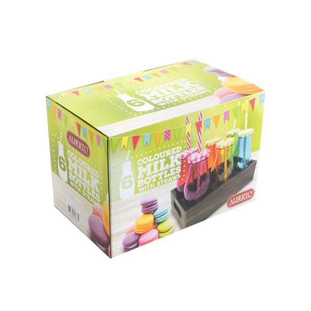 6Pcs Glass Milk Bottles With Metal Lid And Plastic Straw Assorted Colors image number 2