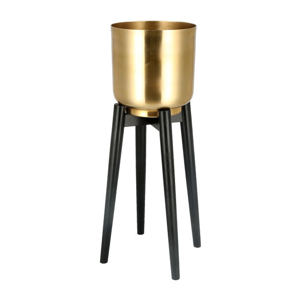 Planter Gold With Wood Stand Gold image number 0