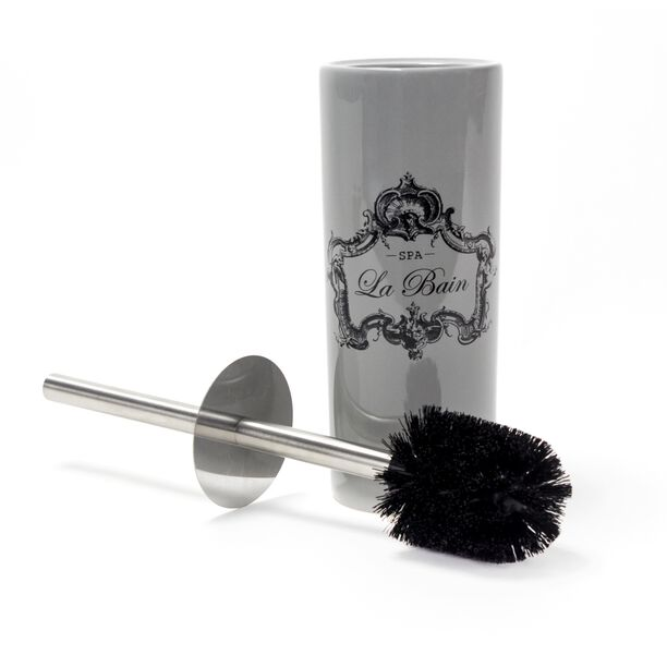 Ceramic Toilet Brush Holder With Stainless Pole Black Bristle Brush  image number 1