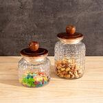 Alberto Glass Storage Jar With Wooden Lid V:1650Ml image number 1