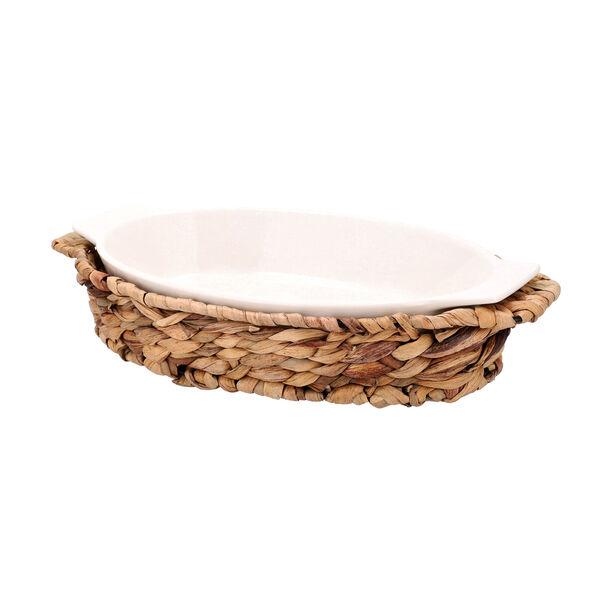 Porcelain Oval Dish With Rattan Basket image number 0