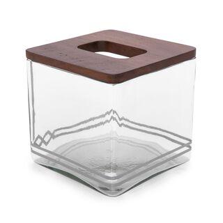 "Wood And Glass Tissue Box ""Koufa"""