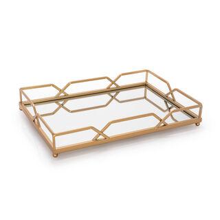 صينية معدنية بسطح مرآه