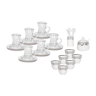 Lamesa 28Pc Porcelain Tc Set G&S White Silver