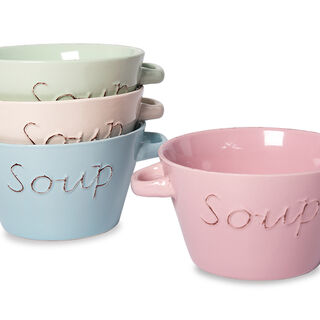 "Soup Bowl 5"" WITH Two Handles 4 Pcs Set"