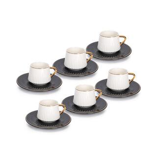 طقم فناجين قهوة تركية بورسلان 12 قطعة أسود