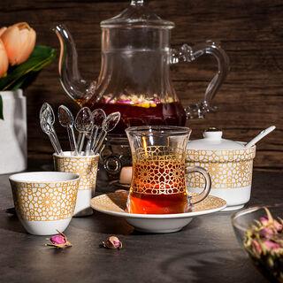 Zukhroof 28 Pieces Porcelain Tea And Coffee Set Othmani Yellow