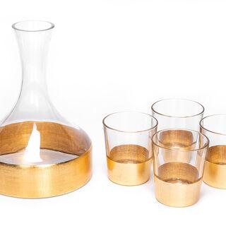 طقم كاسات زجاجية مع ابريق 5 قطع