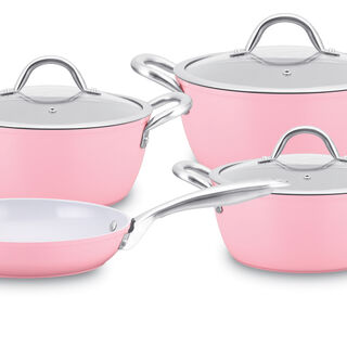 7Pcs Forged Cookware Set With Ceramic Coating Inside Pink