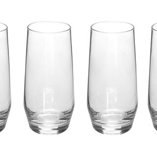 4 Pcs Set High Ball Clear Glass
