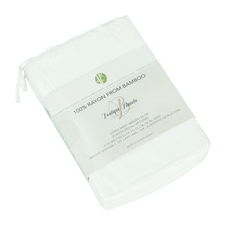 Boutique Blanche Bamboo Fitted Sheet 180X200+35 Cm White