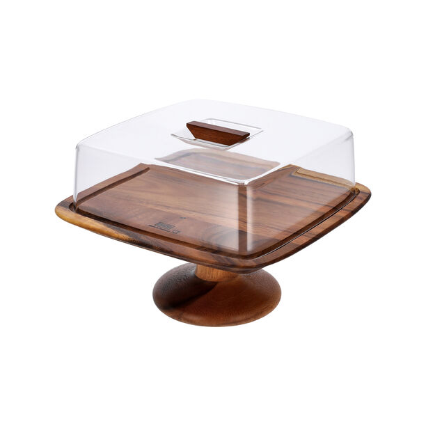 Billi Acacia Wood Cake Dome With Stand L: 29.5O * 29.50Cm* 21Cm image number 2