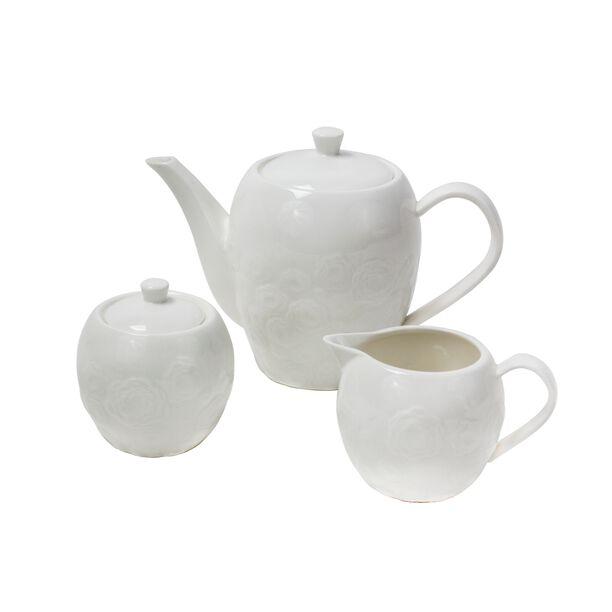 Loving Home Porclain Set Of 3 Pieces 1 Tea Pot 1 Creamer 1 Sugar Bowl White Color  image number 0