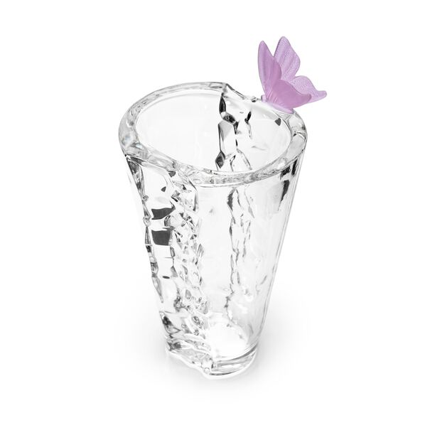 Decorative Vase Glass With Crystal Pink Butterfly image number 1