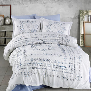 Cottage 3 Pieces Cotton Duvet Cover Blue King 260X240 Cm
