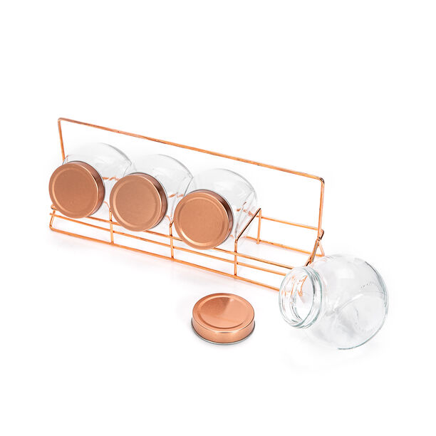 Alberto 4 Pieces Glass Spice Jars With Copper Clip Lid And Metal Stand image number 2