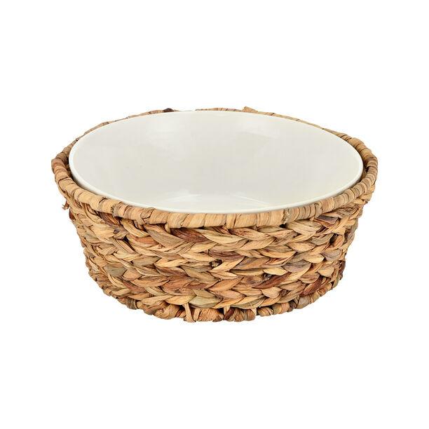 Porcelain Round Salad Bowl With Rattan Basket image number 1