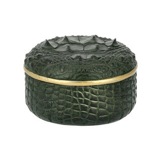 Deco Box Crocodile Resin 14*14*9Cm