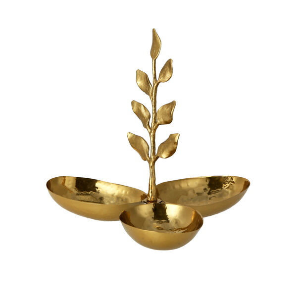 ARABESUE TRIPPLE OVAL BOWL CONDIMENT SET WITH EVERGREEN LEAF SMALL9*9*8.5 Cm image number 2