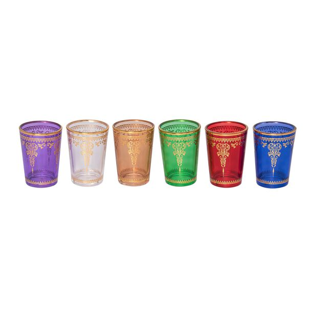 طقم كاسات شاي مغربي ملونة/زجاج شفاف image number 1