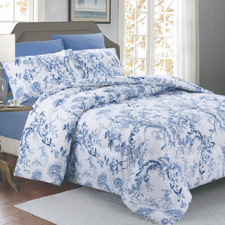 Cottage 4 Pieces Microfiber Comforter Set Printed Pillow Shams Twin Size 160×220 Cm