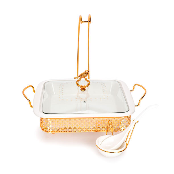 Square Food Warmer With Hanger Gold image number 1