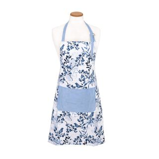 Cottage Kitchen Apron - Spring Design - Blue Color