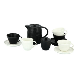 La Mesa 7 Pieces Porcelain English Tea Set Real Slate Black And Wihte