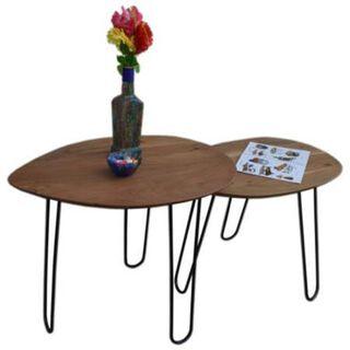 Set Of 2 Side Table Acacia Wood Natural Color