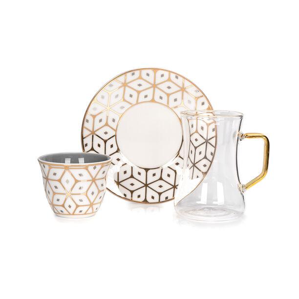 Arabic Tea and Coffec Set 18Pc Porcelain Dutone Gray image number 1